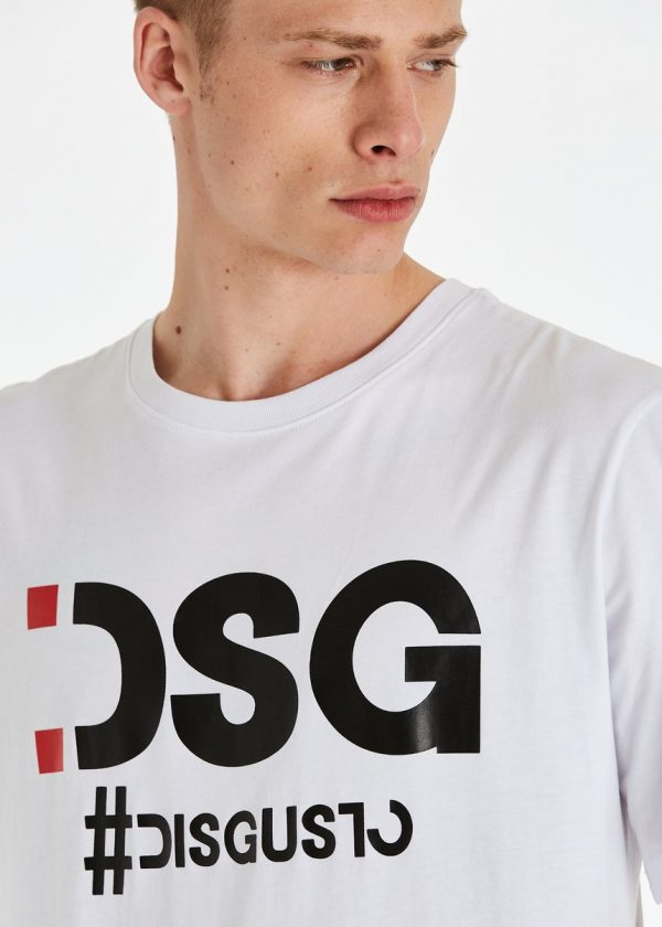 DSG Disgusto - Basic Tee White 100% Made in Italy - Black Red - Italy World - Italian Luxury Experience