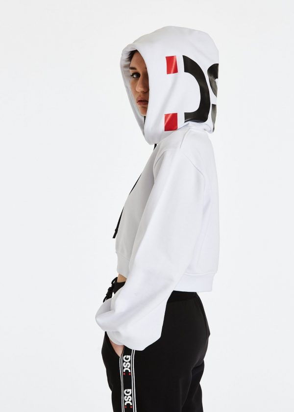 DSG Disgusto - Kylie Hoodie 100% Made in Italy - White/BlackRed - Italy World - Italian Luxury Experience