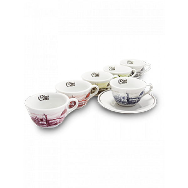 Florence Cappuccino Collection Cups - Dinicaffè 6 pcs - Italy World - Italian Luxury Experience