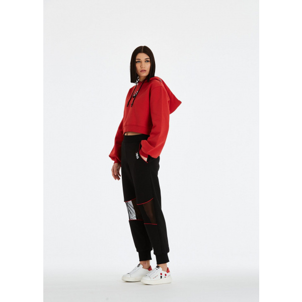 DSG Disgusto - Kylie Hoodie 100% Made in Italy - Red/WhiteBlack - Italy World - Italian Luxury Experience