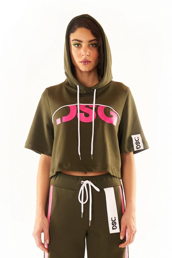 DSG Disgusto - Crop Hoodie 100% Made in Italy - Military - Italy World - Italian Luxury Experience