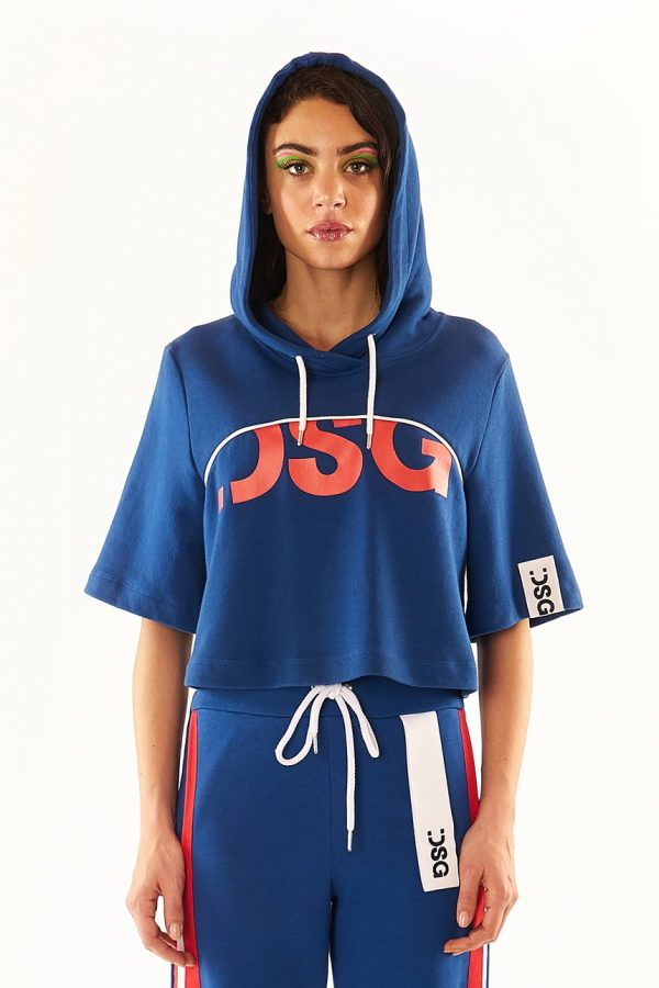 DSG Disgusto - Crop Hoodie 100% Made in Italy - Blue - Italy World - Italian Luxury Experience
