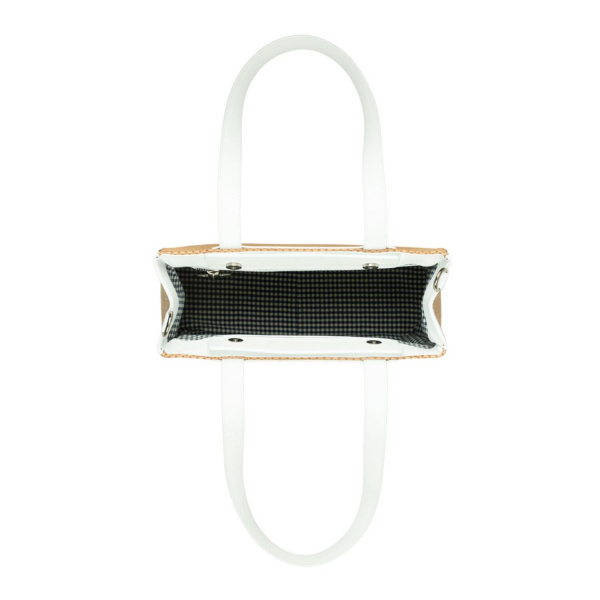MAURA COSCIA - CLAUDIA - Luxury Italian Handmade Bag - Small bag on rice grain material col. Caramel in white leather or other color on request - Italy World - Italian Luxury Experience