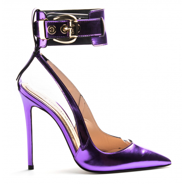 LJDM - Stiletto Hell Woman Slingback and Ankle Guard Pumps Hypersteah 120 - 100% Made in Italy - Calf Mirror Violet - Italy World - Italian Luxury Experience