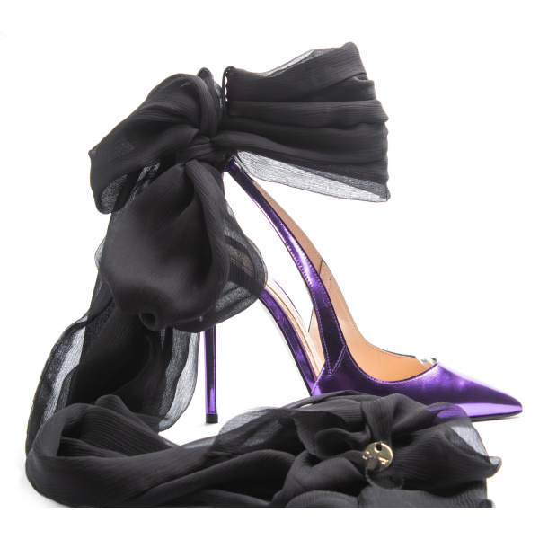 LJDM - Stiletto Woman Slingback and Ankle Guard Hypersteah 120 with Isadora Black - 100% Made in Italy - Calf Mirror Violet - Italy World - Italian Luxury Experience