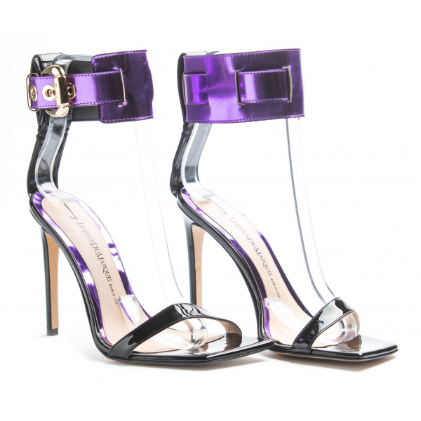 LJDM - Stiletto Hell and Ankle Guard Woman Sandals Hypersandal.100 - 100% Made in Italy - Patent Leather Black/Violet Glass - Italy World - Italian Luxury Experience