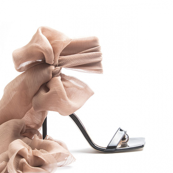 LJDM - Stiletto Hell and Ankle Guard Woman Sandals Hypersandal.100 with Isidora Nude - 100% Made in Italy - Patent Leather Black - Italy World - Italian Luxury Experience