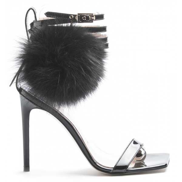 LJDM - Stiletto Hell and Ankle Guard Woman Sandals Hypersandal.100 with Fur Pompom Black - 100% Made in Italy - Patent Leather Black - Italy World - Italian Luxury Experience