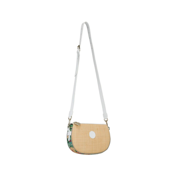MAURA COSCIA - LAURA - Luxury Italian Handmade Bag - Shoulder straps with rafia , linen and white leather or other color on request - Italy World - Italian Luxury Experience