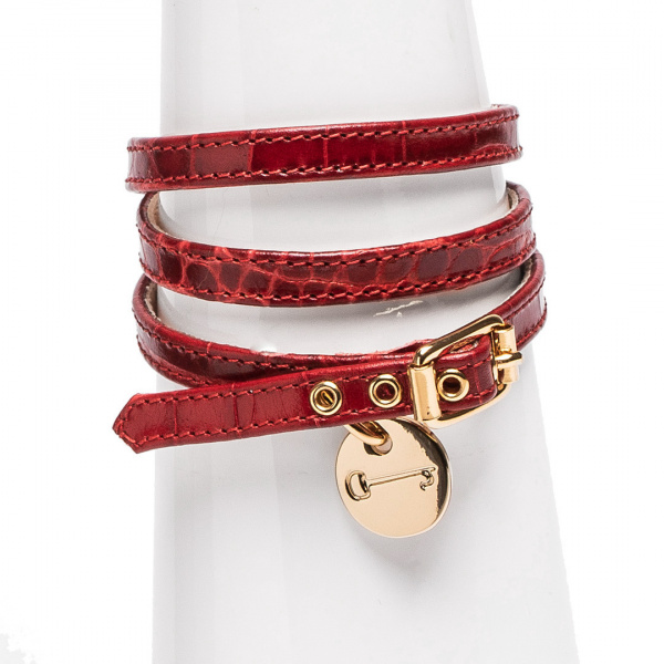 LJDM - Bracelet Miss Marquis - 100% Made in Italy - Croco Leather Red - Italy World - Italian Luxury Experience