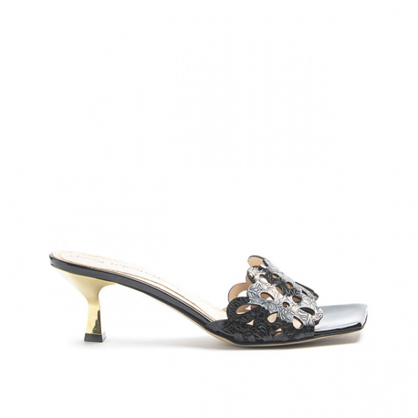 LJDM - Kitten Woman Saffo.55 Mule Slide Sandal - 100% Made in Italy - Laser Engraved Patent Leather Black - Italy World - Italian Luxury Experience