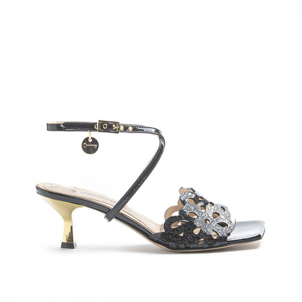 LJDM - Kitten Woman Saffo.55 Mule Slide Sandal with Miss Marquis Black - 100% Made in Italy - Laser Engraved Patent Leather Black - Italy World - Italian Luxury Experience