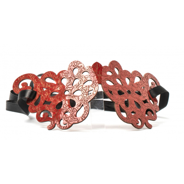 LJDM - Saffo mask - 100% Made in Italy - Burano lace - Laser Engraved Patent Leather - Italy World - Italian Luxury Experience
