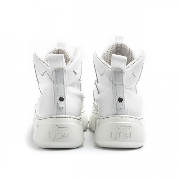 LJDM - Sneakers Scarabeo.10 Extralight Laceless - 100% Made in Italy - Calf White - White Suede - White Croco - Italy World - Italian Luxury Experience