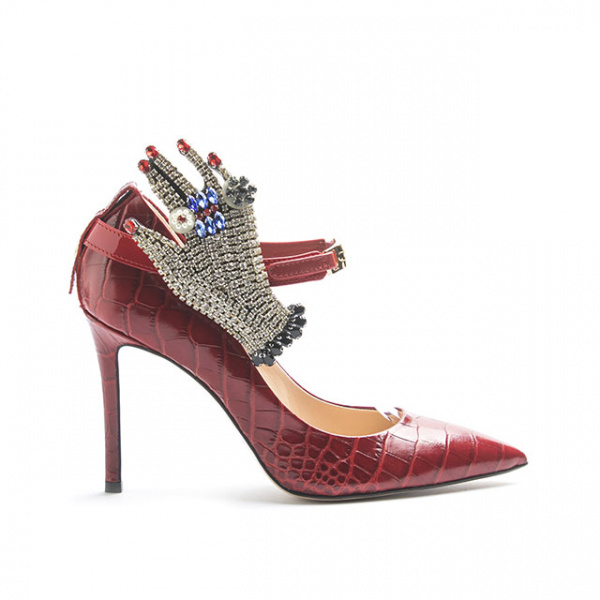 LJDM - Stiletto Woman Kill.100 with Gala Glove - 100% Made in Italy - Embrossed Croco Leather - Italy World - Italian Luxury Experience