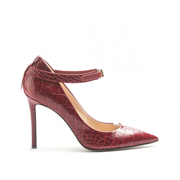LJDM - Stiletto Woman Kill.100 with Ankle Strap -Embrossed Croco Leather - 100% Made in Italy - Italy World - Italian Luxury Experience