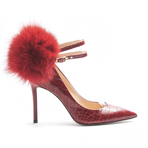 LJDM - Stiletto Woman Kill.100 with Pom Pom Red - 100% Made in Italy - Embrossed Croco Leather - Italy World - Italian Luxury Experience