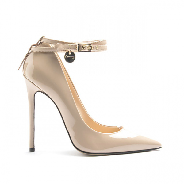 LJDM - Stiletto Woman Super kill 120 with Bracelet Miss Marquis - 100% Made in Italy - Patent leather Nude - Italy World - Italian Luxury Experience
