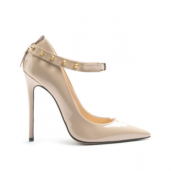 LJDM - Stiletto Woman Super kill 120 with Bracelet Voyager Punkette - 100% Made in Italy - Patent leather Nude - Italy World - Italian Luxury Experience