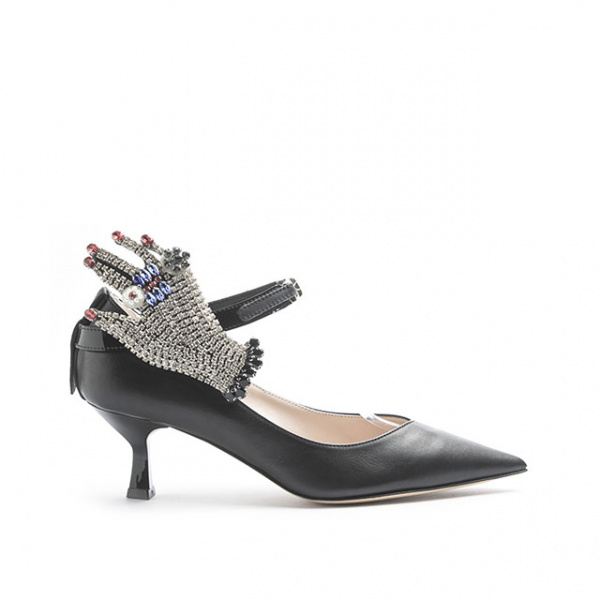 LJDM - Kitten Hell Woman Pumps Swallow.55 with Gala glove - 100% Made in Italy - Calf Black - Italy World - Italian Luxury Experience