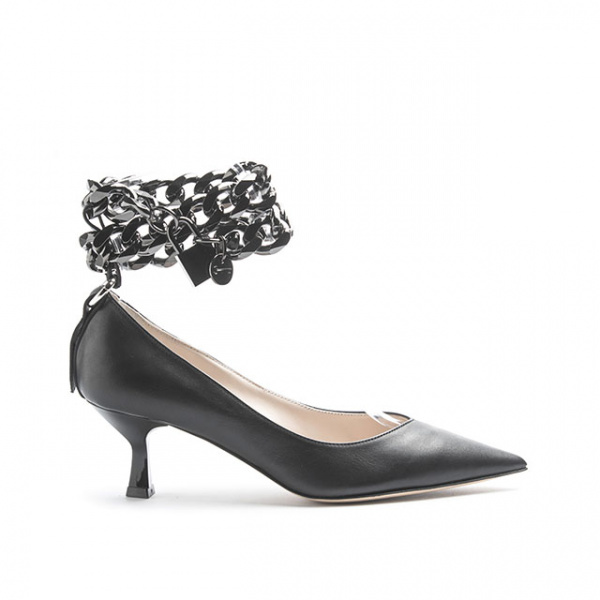 LJDM - Kitten Hell Woman Pumps Swallow.55 with Padlock - 100% Made in Italy - Calf Black - Italy World - Italian Luxury Experience