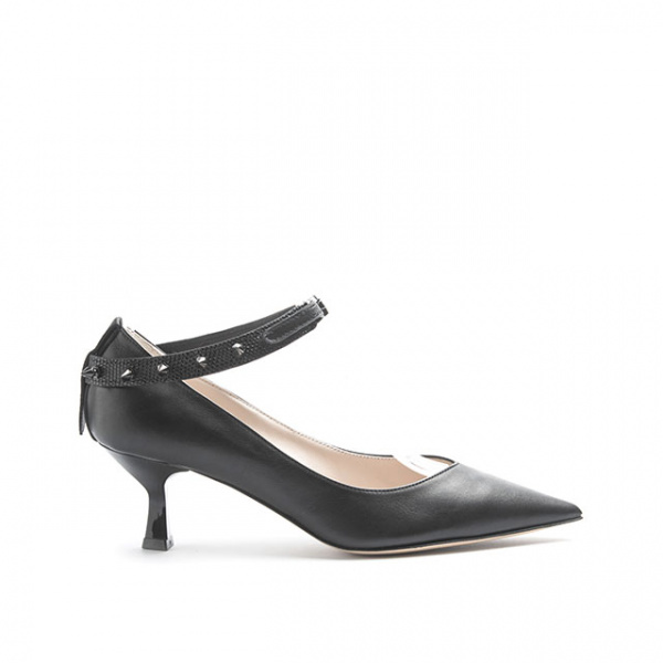 LJDM - Kitten Hell Woman Pumps Swallow.55 with Punkette - 100% Made in Italy - Calf Black - Italy World - Italian Luxury Experience