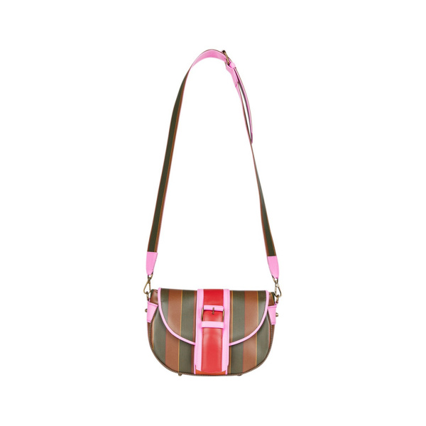 MAURA COSCIA - MOON - Luxury Italian Handmade Bag - Striped coated cotton flap and covers. In the center, a two-tone band in pink and red leather - Italy World - Italian Luxury Experience