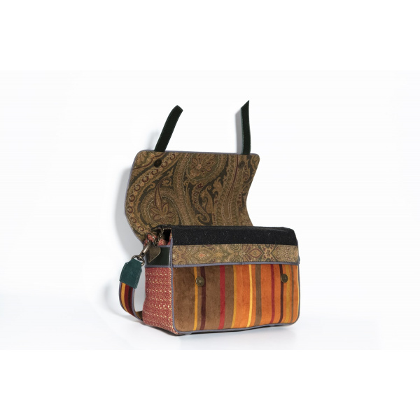 MAURA COSCIA - EMMA - Luxury Italian Handmade Bag - Postwoman green velvet and green leather or other color on request - Italy World - Italian Luxury Experience